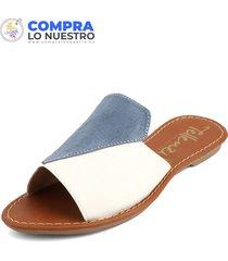 sandalia  blanco*azul tellenzi 22108