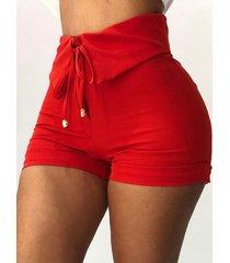 shorts de cintura con cordón rojo súper elástico