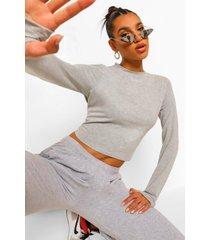 woman crop top met duimgat, grey marl