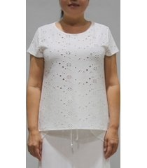 coin 1804 women's eyelet jersey button back top