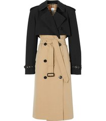 black and beige trench coat