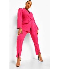 plus nette getailleerde broek met split, pink
