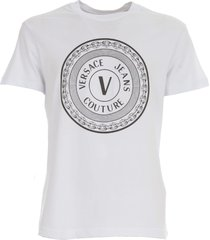 versace jeans couture slim round big rubber jersey t-shirt