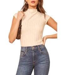 women's reformation giselle mock neck top, size small - white