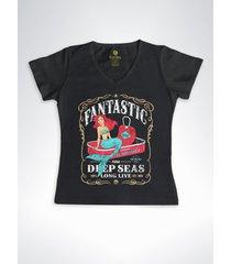 camiseta feminina gola v surf cool tees sereias em conservas preto