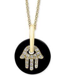 "effy onyx & diamond (1/10 ct. t.w.) hamsa hand disc 18"" pendant necklace in 14k gold"