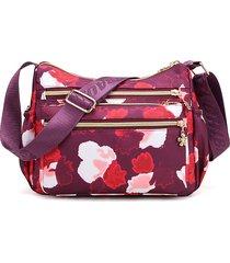 borsa a tracolla grande per donna in nylon leggero multicolore con stampa a tracolla