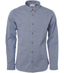 no excess shirt, l/sl, bttn down, allover pri indigo blue lange mouw blauw