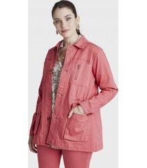 chaqueta manga larga bolsillos rosa curvi
