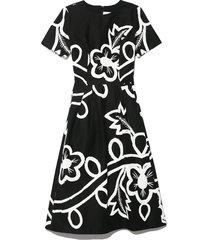 garland floral cotton dress in black/white
