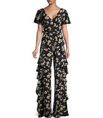 ruffle-trim floral-print silk jumpsuit