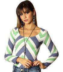 blusa ficalinda manga longa estampa zig zag decote redondo feminina