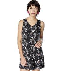 vestido corto lace up espalda negro flores mujer corona