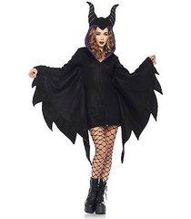 women's cozy villain maleficent zip front dress halloween costume set horn hood