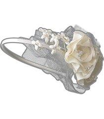 jadzia ivory flower wedding bridal tiara headband