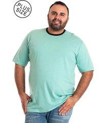 camisa básica manga curta plus size ciano claro