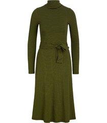 king louie rollneck dress tweedy stripe posey green