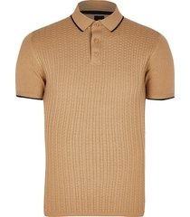 river island mens big & tall beige textured slim fit polo shirt