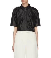 'marcha' shoulder strap spread collar crop leather shirt
