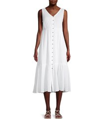 beach lunch lounge women's lexa crepe sleeveless flounce dress - white - size xs