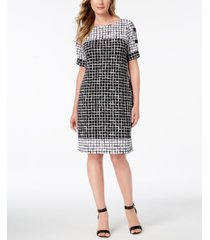 jm collection petite printed lattice sleeve dress, created for macy's