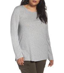 plus size women's caslon long sleeve crewneck tee, size 3x - grey