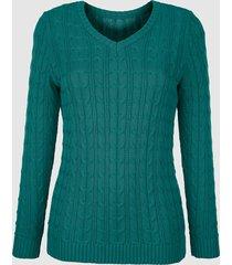 tröja med flätmönster dress in smaragdgrön