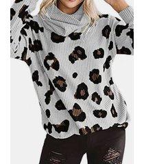 camicetta a maniche lunghe casual a collo alto con stampa leopardata plus