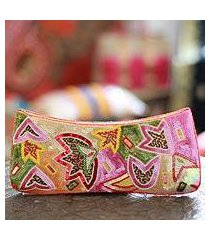 beaded clutch evening bag, 'holi festival of colors' (india)