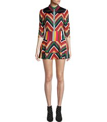 hazeline rainbow chevron stripe mini a-line shirt dress