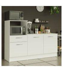 balcão madesa onix 180 cm 3 portas 1 gaveta e nicho para forno branco cor:branco