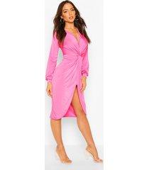 disco slinky twist front wrap dress, hot pink
