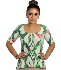 blusa ficalinda meia manga geométrica verde com flores decote redondo evasê