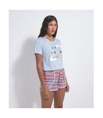 pijama curto em viscolycra estampa dreaming | lov | azul | g
