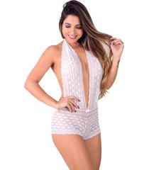 body de renda vip lingerie com caleçon e decote branco