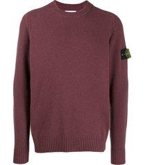 stone island logo patch knitted sweater - purple