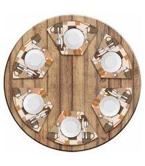 jogo americano love decor  para mesa redonda wevans master café kit com 6 pçs