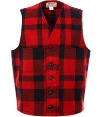 filson mackinaw wool vest - red & black 11010055