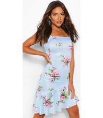 floral print fishtail dress, blue