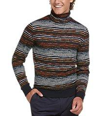 paisley & gray slim fit turtleneck sweater navy multi stripe