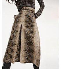 tommy hilfiger women's zendaya snake print leather skirt snakeskin - 8