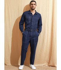 hombre vendimia moda streetwear casual multi-bolsillo mono de manga larga mono