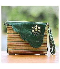leather accent cotton wristlet, 'linear landscape in green' (indonesia)