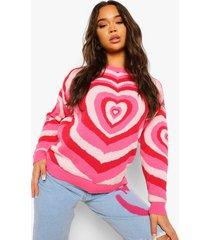 gebreide hartjes trui, pink