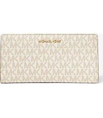 mk portafoglio sottile grande con logo - vaniglia/ghianda (naturale) - michael kors