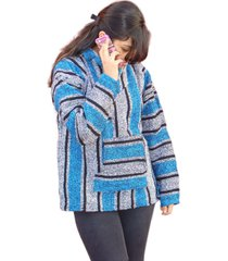#298 three pack turquoise assorted baja jacket hoodie drug rug wholesale mexico