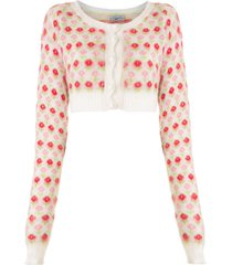 ashley williams floral intarsia cropped cardigan - white