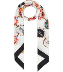 burberry bottle cap print cotton silk large square scarf - white