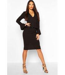 flared sleeve peplum midi dress, black