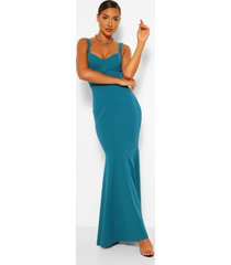 fitted fishtail maxi bridesmaid dress, teal